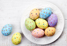 Plate of Easter eggs Stock Photo