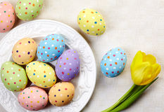 Plate of Easter eggs Stock Images