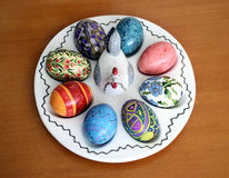 Plate with easter eggs Stock Images