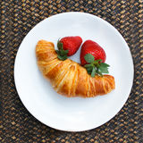 Plate with easy breakfast on tray Royalty Free Stock Photo