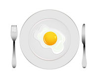 Plate with egg Stock Photography
