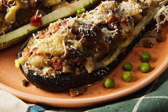 Plate of eggplant and zucchini boats closeup Royalty Free Stock Images