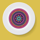 Plate with elegance tribal ornament mandala. Vector illustration Stock Image