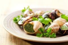 Plate of escargots Stock Photo