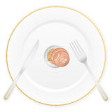 Plate and euro coin Stock Photography