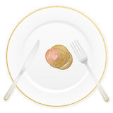 Plate and euro coin. Dish with cutlery and euro coin Stock Photography