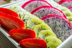 Plate of exotic fruits. Stock Photo