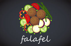 Plate of falafel. Top view. Plate of vegetarian falafel. View from above Stock Images
