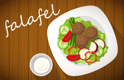 Plate of falafel on wooden table. Top view. Plate of falafel with tzatziki sauce on wooden table. View from above Stock Photos