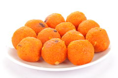 Plate of famous and tasty   Indian orange  ladoo Royalty Free Stock Images