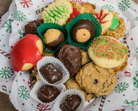 Plate of fancy cookies for holiday Stock Photo