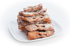 Plate of faworki, Polishd dessert Royalty Free Stock Photo