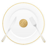 Plate and fifty euro cent. Dish with cutlery and 50 euro cent coin Royalty Free Stock Photography