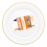 Plate and fifty euro pack Royalty Free Stock Image