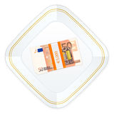 Plate and fifty euro pack. Plate with fifty euro pack on a white background Royalty Free Stock Images