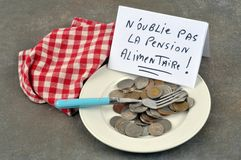 Do not forget alimony written in French stock photography