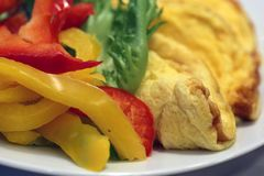 Delicious Breakfast Including Omelette and Veggies. A plate filled with omelette and healthy colorful veggies. Perfect breakfast! Photographed with a macro lens stock image