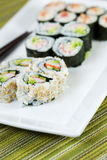 Plate filled with Sushi Rolls Royalty Free Stock Image