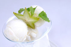 Plate of fine dessert - lemon sorbet. Image of tasty lemon sorbet Stock Photos