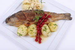 Plate of fine dining meal. Trout fried in a butter sauce and accompanied with boiled potatoes and pistachio cauliflower Stock Photography