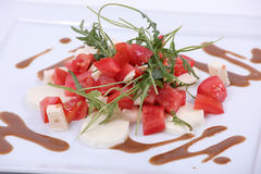 Plate of fine dining meal. Salad of mozzarella, fresh tomatoes and lettuce leaves dressed in herb vinaigrette Stock Images