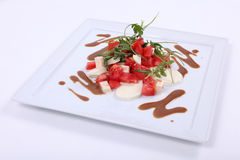 Plate of fine dining meal Stock Photography