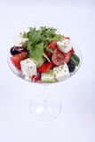 Plate of fine dining meal. Salad of mozzarella, fresh tomatoes and lettuce leaves dressed in herb vinaigrette Royalty Free Stock Image