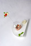 Plate of fine dining meal Stock Photo