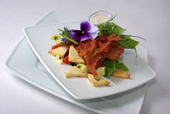 Plate of fine dining meal. Niceley decorated fine dining meal Royalty Free Stock Photography