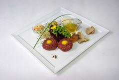 Plate of fine dining meal. Niceley decorated fine dining meal Stock Photos