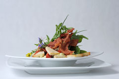 Plate of fine dining meal. A salad of young vegetable leaves and shoots served with bacon, garlic, cocktail tomatoes, toasted sunflower seeds and a creamy Stock Photography