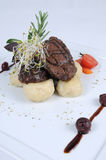 Plate of fine dining meal - Haunch of venison Stock Photography