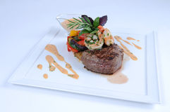Plate of fine dining meal - steak and shrimps [2]. Image of steak with shrimps royalty free stock images