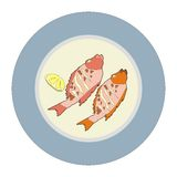 Plate fish barbecue Stock Photos