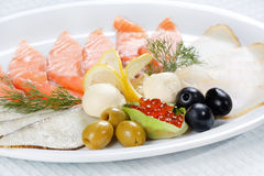 Plate of fish cuts Stock Images
