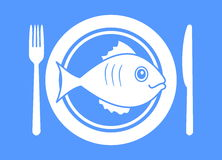Plate with fish menu Royalty Free Stock Images