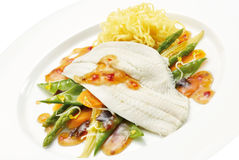 Plate of fish, pasta and vegetables Royalty Free Stock Photos