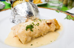 Plate of fish and potatoes Royalty Free Stock Photos