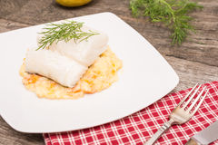 Plate with fish and puree Royalty Free Stock Images