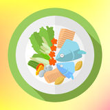 Plate fish salad flat icon Stock Images