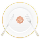 Plate and five euro cent. Dish with cutlery and 5 euro cent coin Stock Photo