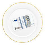 Plate and five euro pack Stock Photo