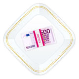 Plate and five hundred euro pack Stock Photography