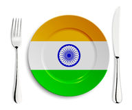 Plate with flag of India Royalty Free Stock Image