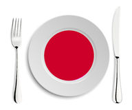 Plate with flag of Japan Stock Image