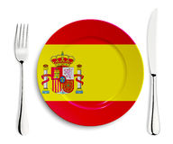 Plate with flag of Spain Royalty Free Stock Photo