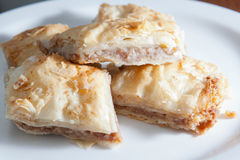 Plate of flaky baklava Royalty Free Stock Image