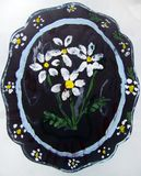 Plate with flower pattern painted by child royalty free stock photos