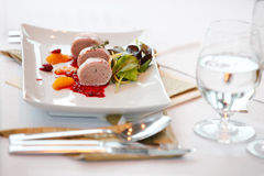 Plate with Foie gras Stock Photos