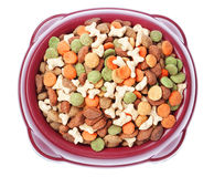 Plate of food for dogs and cats from above. Royalty Free Stock Images